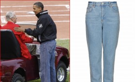 Obama wears normal jeans, like Topshop's Mom style £40