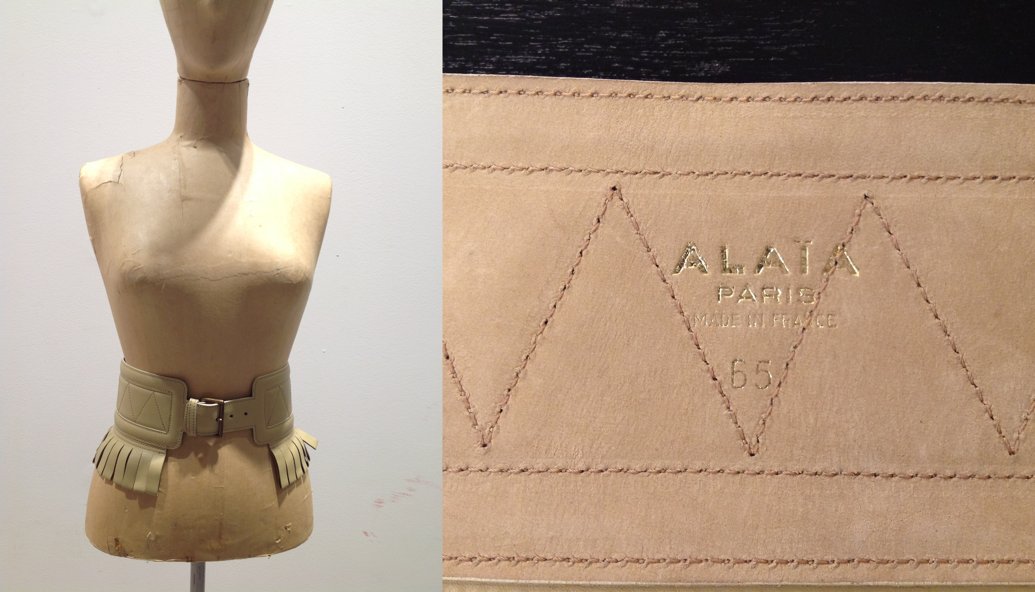 Alaia Cream Leather Fringed Belt