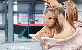 Chanel AW14 Campaign, featuring Cara Delenvigne and Binx Walton. Photographed by Karl Lagerfeld