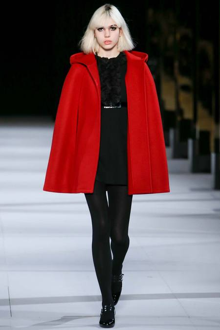 Saint Laurent's red riding hood cape AW14